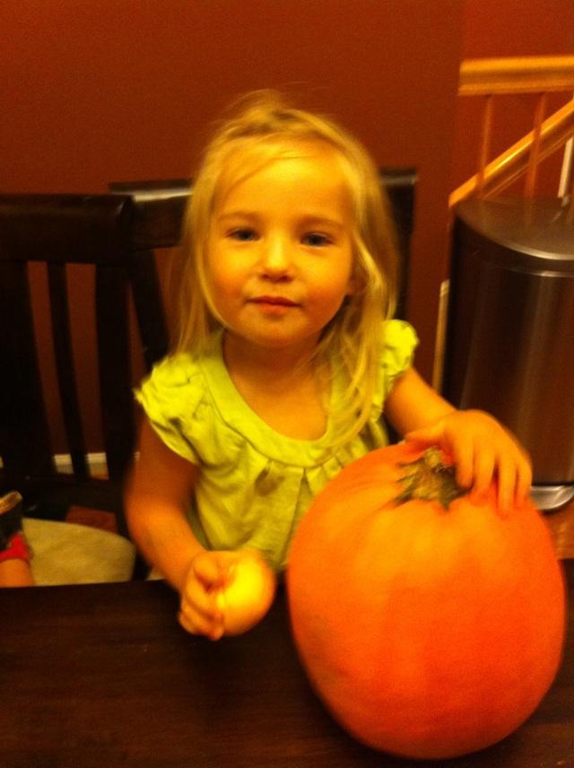 Ellie Anne with her Pumpkins